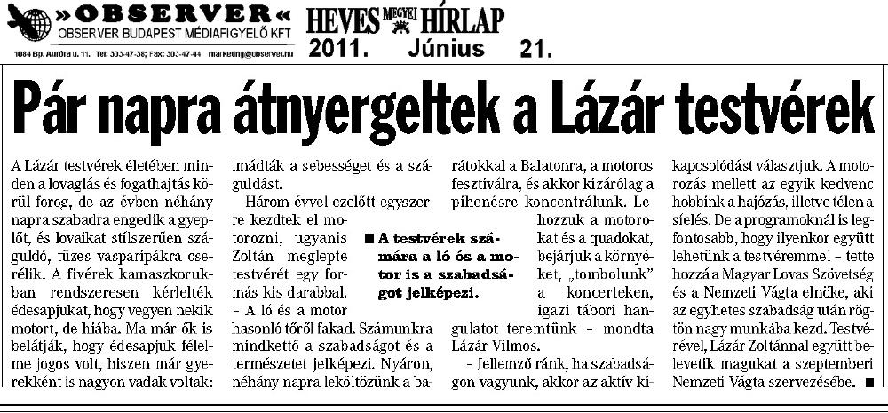 Heves Megyei Hírlap - 2011.06.21.